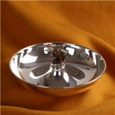Beretta Silver Plated Round Bowl with Red Partridge