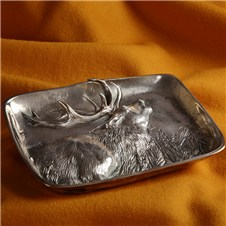 Beretta Silver Plated Tray Deer Belling
