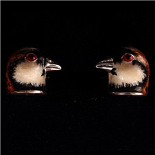 Beretta Red Partridge Head Silver Cufflinks