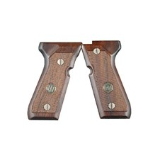 Beretta 92/96/98 Checkered Wood Grips w/Plate